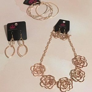Rose Gold Necklace, Bracelet And Earrings Set Of 3